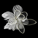 Elegance by Carbonneau Comb-9808 Fabulous White or Ivory Flower Bridal Hair Comb w/ Feathers & Clear Rhinestones 9808