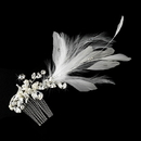 Elegance by Carbonneau Comb-9824 Vintage Silver Clear Crystal Bridal Comb w/ White Feathers 9824