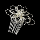Elegance by Carbonneau Comb-9825 Lovely Silver Clear Rhinestone Floral Hair Comb 9825