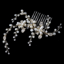 Elegance by Carbonneau Comb-9862-LG-FW Light Gold Freshwater Pears & Rhinestone Floral Twigs Comb