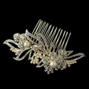 Elegance by Carbonneau Comb-9876-LG-IV Light Gold Ivory Pearl & Rhinestone Flower Comb