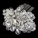 Elegance by Carbonneau Antique Silver Clear Rhinestone Floral Swirl Comb 9880