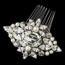 Elegance by Carbonneau Antique Rhodium Silver Clear Rhinestone & Freshwater Pearl Comb 9883
