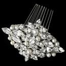 Elegance by Carbonneau Comb-9884-RD-FW Rhodium Freshwater Pearl & Rhinestone Comb 9884