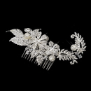 Elegance by Carbonneau Comb-9914-S-Ivory Silver Rhinestone, Crystal & Ivory Pearl Comb 9914