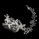Elegance by Carbonneau Comb-9928-S-Clear Silver Clear Rhinestone & Crystal Leaf Vine Comb 9928