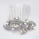Elegance by Carbonneau Comb-9937-AS-Clear Rhodium Silver Clear Vintage Swirl Comb 9937