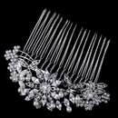 Elegance by Carbonneau Comb-9951-RD-DW Rhodium Diamond White Pearl & Rhinestone Floral Comb
