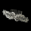 Elegance by Carbonneau Comb-9984-AS-Clear Antique Silver Clear Rhinestone & Floral Fabric Side Comb 9984