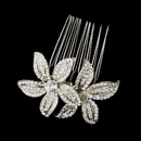 Elegance by Carbonneau Comb-9985-AS-Clear Antique Silver Clear Rhinestone Flower Comb 9985