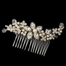 Elegance by Carbonneau Comb-9989-G-IV Gold Ivory Pearl, Swarovski Crystal Bead, Rondelle & Rhinestone Floral Comb