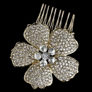 Elegance by Carbonneau Comb-9995-LG-CL Light Gold Clear Rhinestone Flower Hair Comb 9995
