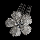 Elegance by Carbonneau Comb-9995-Silver-Clear Gorgeous Antique Silver Flower Hair Comb w/ Clear Rhinestones & Swarovski Crystals 9995