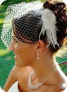 Elegance by Carbonneau Comb1533-VCage700 Elegant White or Ivory Feather Hair Fascinator 1533