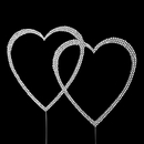 Elegance by Carbonneau completelycovereddblhrt Completely Covered ~ Swarovski Crystal Double Heart Cake Topper