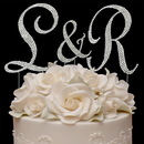 Elegance by Carbonneau completelycoveredinitials Completely Covered ~ Swarovski Crystal Initials Wedding Cake Top Set