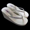 Elegance by Carbonneau Crystals Crystals ~ Ivory or White High Wedge Bridal Flip Flops with Crystal Accented Suedene Strap