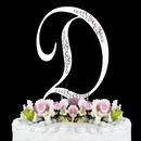 Elegance by Carbonneau D-Sparkle-Silver Sparkle ~ Swarovski Crystal Wedding Cake Topper ~ Silver Letter D