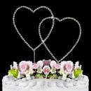 Elegance by Carbonneau Double-Heart-Renaissance-Silver Renaissance ~ Swarovski Crystal Wedding Cake Topper ~ Double Silver Heart