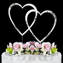 Elegance by Carbonneau Double-Large-Heart-French-Silver French Flower ~ Swarovski Crystal Wedding Cake Topper ~ Double Large Silver Heart