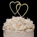Elegance by Carbonneau Double-Large-Heart-Sparkle-Gold Sparkle ~ Swarovski Crystal Wedding Cake Topper ~ Double Large Gold Heart