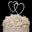 Elegance by Carbonneau Double-Large-Heart-Sparkle-Silver Sparkle ~ Swarovski Crystal Wedding Cake Topper ~ Double Large Silver Heart