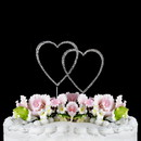 Elegance by Carbonneau Double-Small-Heart-Completely-Covered-Silver Completely Covered ~ Swarovski Crystal Wedding Cake Topper ~ Double Small Silver Heart