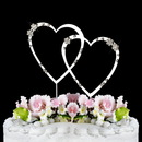 Elegance by Carbonneau Double-Small-Heart-French-Silver French Flower ~ Swarovski Crystal Wedding Cake Topper ~ Double Small Silver Heart