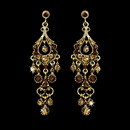Elegance by Carbonneau E-1028-Gold-Topaz-AB Antique Gold Topaz AB Crystal Chandelier Earrings 1028
