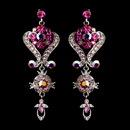 Elegance by Carbonneau e-1031-pink Silver Pink Multi Crystal Chandeleir Earrings 1031