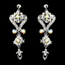 Elegance by Carbonneau E-1031-Silver-AB Beautiful Silver Clear AB Chandeleir Crystal Earrings 1031