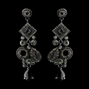 Elegance by Carbonneau E-1062-Black Antique Silver Smoked Black Earring Set 1062