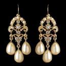 Elegance by Carbonneau E-1221-G-IV Gold Ivory Pearl & Rhinestone Chandelier Earrings 1221