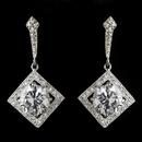 Elegance by Carbonneau Antique Silver Rhodium Clear CZ Crystal Vintage Drop Earrings 1821