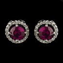 Elegance by Carbonneau Antique Rhodium Silver Ruby CZ Crystal Round Stud Earrings 2288