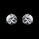 Elegance by Carbonneau E-2432-AS-Clear Rhodium Silver Clear Cubic Zirconia Round Stud Earring 2432