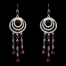 Elegance by Carbonneau E-24496-Red Immaculate Silver Clear & Red Austrian Crystal Chandelier Earrings 24496