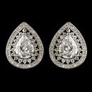Elegance by Carbonneau E-2450-RD-CL Rhodium Clear Teardrop CZ Crystal Stud Earrings 2450