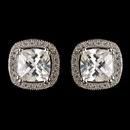 Elegance by Carbonneau E-2729-RD-CL Rhodium Clear Cushion Cut CZ Crystal Stud Earrings 2729