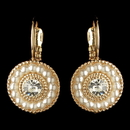Elegance by Carbonneau E-295-G-IV Gold Ivory Pearl & Rhinestone Circle Leverback Drop Earrings 295