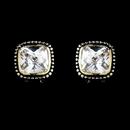 Elegance by Carbonneau E-2956-AS-Clear Designer Inspired Rhodium Silver with Gold Accent Clear Cubic Zirconia Earring 2956