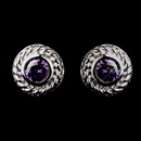 Elegance by Carbonneau E-3587-AS-Amethyst Vintage Silver CZ Amethyst Stud Earrings 3587