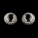 Elegance by Carbonneau E-3587-AS-Black Vintage Silver CZ Black Stud Earrings 3587