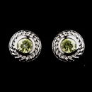 Elegance by Carbonneau E-3587-AS-Peridot Vintage Silver CZ Peridot Stud Earrings 3587