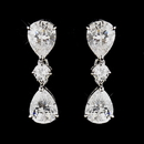 Elegance by Carbonneau E-3606-AS-Clear Silver Clear CZ Crystal Dangle Tear Drop Bridal Earrings 3606