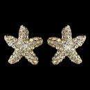 Elegance by Carbonneau E-3815-G-CL Gold Clear Rhinestone Beach Starfish Stud Earrings 3815