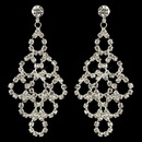 Elegance by Carbonneau E-3832-S-CL Silver Clear Rhinestone Chandelier Earrings 3832