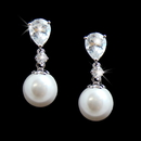 Elegance by Carbonneau E-3889-AS-White Teardrop Cubic Zirconia and Pearl Drop Bridal Earrings E 3889