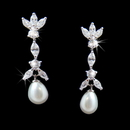 Elegance by Carbonneau E-3891-AS-Clear Marquise Cubic Zirconia & Pearl Drop Bridal Earrings E 3891