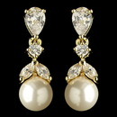 Elegance by Carbonneau E-3905-G-DW Gold Diamond White Pearl & CZ Crystal Drop Earrings 3905